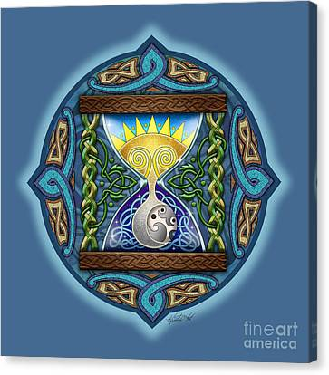 Celtic Sun Moon Hourglass Canvas Print by Kristen Fox