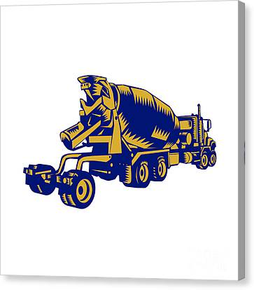 Cement Truck Rear Woodcut Canvas Print by Aloysius Patrimonio