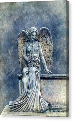 Cemetery Angel In Blue Canvas Print by Randy Steele