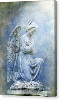 Cemetery Angel Statue In Blue Canvas Print by Randy Steele