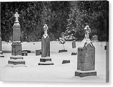 Cemetery In Snow Canvas Print