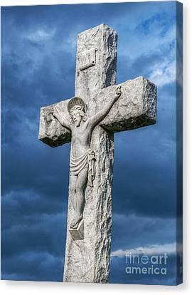 Cemetery Statue Of Jesus Canvas Print