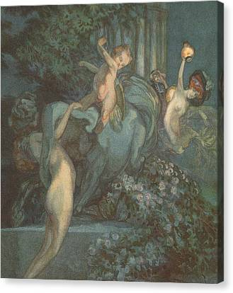 Centaur Nymphs And Cupid Canvas Print by Franz von Bayros