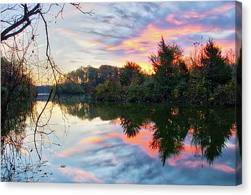 Canvas Print featuring the photograph Centennial Lake At Sunrise by Mark Dodd
