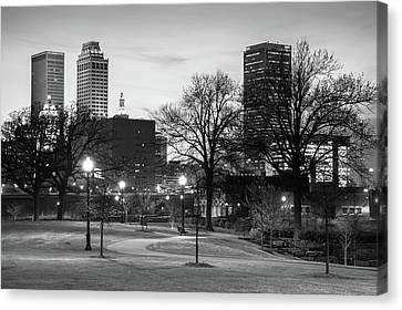 Canvas Print featuring the photograph Centennial Park Black And White - Tulsa City Skyline by Gregory Ballos