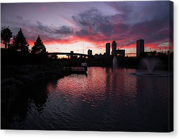 Centennial Park Sunset - Tulsa Skyline Canvas Print by Gregory Ballos