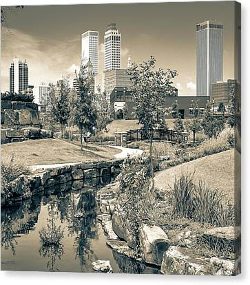 Centennial Park Tulsa Skyline View - Square - Sepia Canvas Print by Gregory Ballos