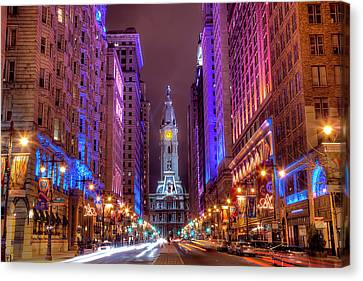 Street Lights Canvas Print - Center City Philadelphia by Eric Bowers Photo