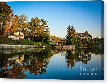Centerport Harbor Autumn Colors Canvas Print