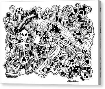 Balloon Flower Canvas Print - Centipede by Chelsea Geldean