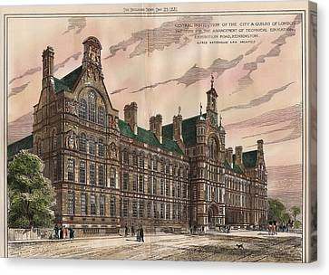 Central Institution Of The Cityy And Guilds Of London And Technical Education. London. 1881 Canvas Print by Alfred Waterhouse
