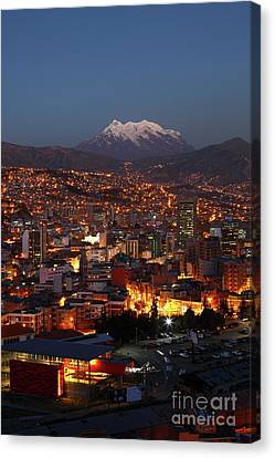 Central La Paz And Mt Illimani At Dusk Bolivia Canvas Print
