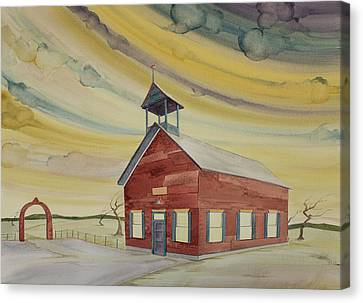 Canvas Print featuring the painting Central Ohio Schoolhouse by Scott Kirby