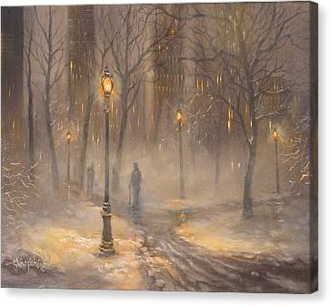 Central Park After Dark Canvas Print by Tom Shropshire