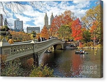 Central Park Autumn Cityscape Canvas Print by Allan Einhorn