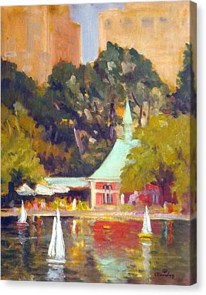 Central Park Boathouse Canvas Print by David Olander