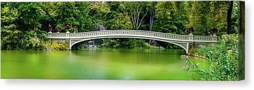 Central Park Bow Bridge Panoramic Canvas Print