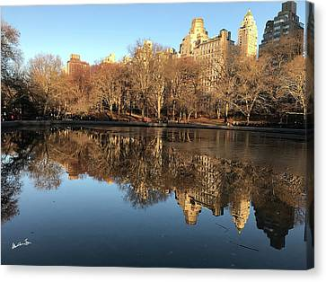 Canvas Print featuring the photograph Central Park City Reflections by Madeline Ellis