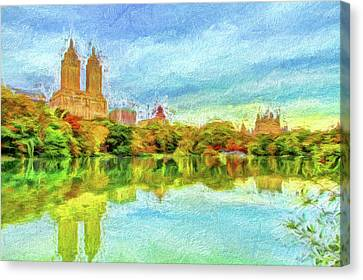 Central Park In Fall Canvas Print by Geraldine Scull