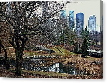 Canvas Print featuring the photograph Central Park In January by Sandy Moulder