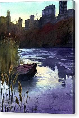 Central Park Lake Canvas Print by Sergey Zhiboedov