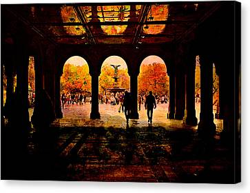 Central Park Nyc  Under The Bridge Canvas Print