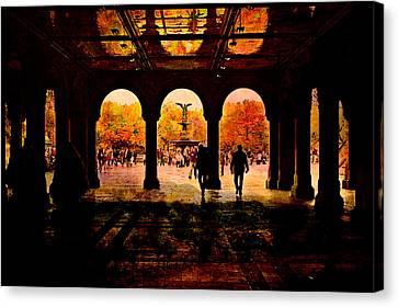 Central Park Nyc  Under The Bridge Canvas Print by Jeff Burgess