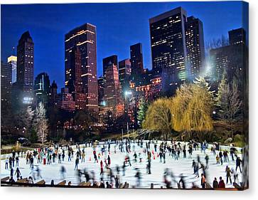 Central Park Skaters Canvas Print by June Marie Sobrito