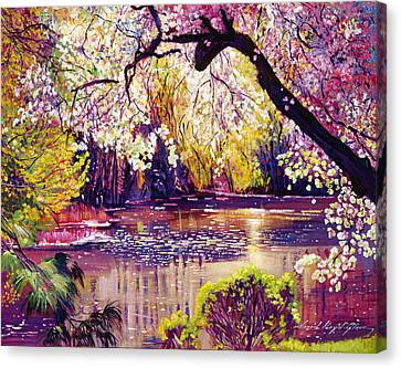 Central Park Spring Pond Canvas Print by David Lloyd Glover