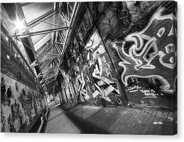 Central Square Graffiti Corridor Cambridge Ma Black And White Canvas Print