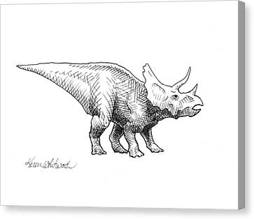 Canvas Print featuring the drawing Cera The Triceratops - Dinosaur Ink Drawing by Karen Whitworth