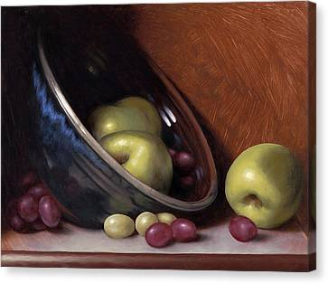 Ceramic Bowl With Apples Canvas Print by Timothy Jones