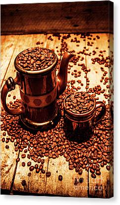 Taste Canvas Print - Ceramic Coffee Pot And Mug Overflowing With Beans by Jorgo Photography - Wall Art Gallery