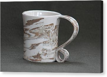 Ceramic Marbled Clay Cup Canvas Print by Suzanne Gaff