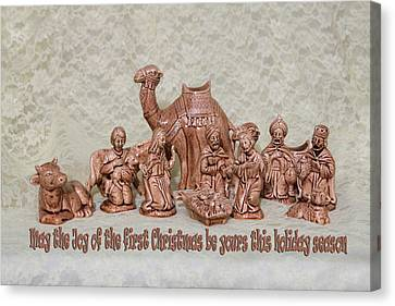 Ceramic Nativity Scene Canvas Print by Linda Phelps