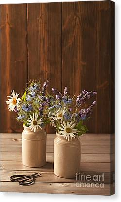 Ceramic Pots Filled With Flowers Canvas Print by Amanda Elwell