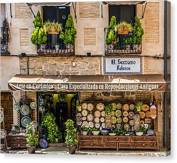 Ceramic Shop - Toledo Spain Canvas Print by Jon Berghoff