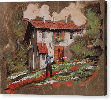 Workers Canvas Print - Cercando Tra Le Foglie by Guido Borelli
