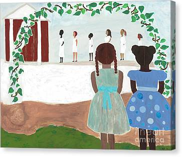 African American Artist Canvas Print - Ceremony In Sisterhood by Kafia Haile