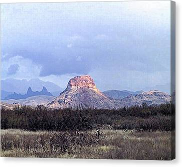 Canvas Print featuring the painting Cerro Castellan And Mule Ears  by Dennis Ciscel
