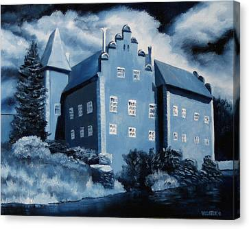 Prussian Blue Canvas Print - Cervena Lhota Castle  Czech Republic  Midnight Oil Series by Mark Webster