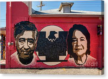 Cesar Chavez And Dolores Huerta Mural - Utah Canvas Print by Gary Whitton