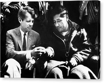 Senator Kennedy Canvas Print - Cesar Chavez Ends His Hunger Strike by Everett