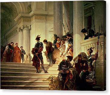 Cesare Borgia Leaving The Vatican Canvas Print by Giuseppe Lorenzo Gatteri