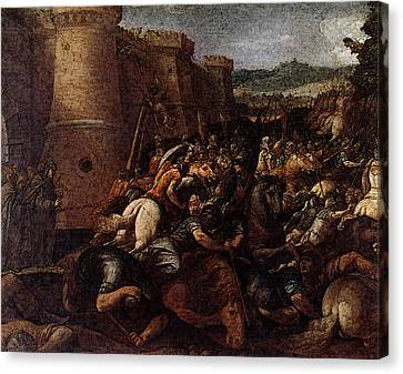 Cesari Giuseppe St Clare With The Scene Of The Siege Of Assisi Canvas Print by Giuseppe Cesari