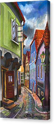 Architectur Canvas Print - Cesky Krumlov Old Street 1 by Yuriy Shevchuk