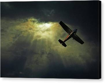 On The Move Canvas Print - Cessna 172 Airplane by photograph by Anastasiya Fursova