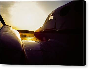 Cessna 421c Golden Eagle IIi Silhouette Canvas Print