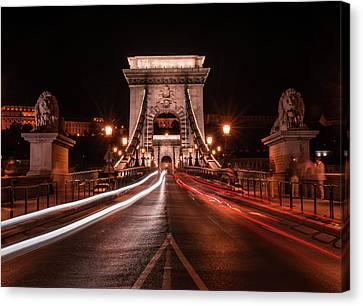 Chain Bridge At Midnight Canvas Print by Jaroslaw Blaminsky