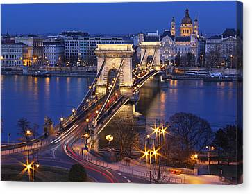 Street Lights Canvas Print - Chain Bridge At Night by Romeo Reidl
